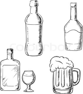281x320 Wine Bottle With High Wine Glass And Beer Tankard With Froth Cap