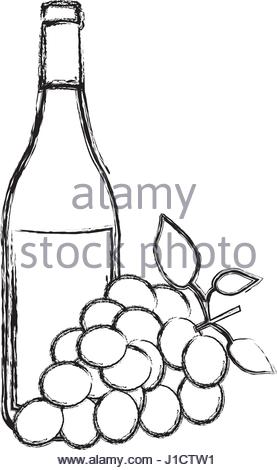 277x470 Monochrome Silhouette With Bottle Of Wine With Label Stock Vector