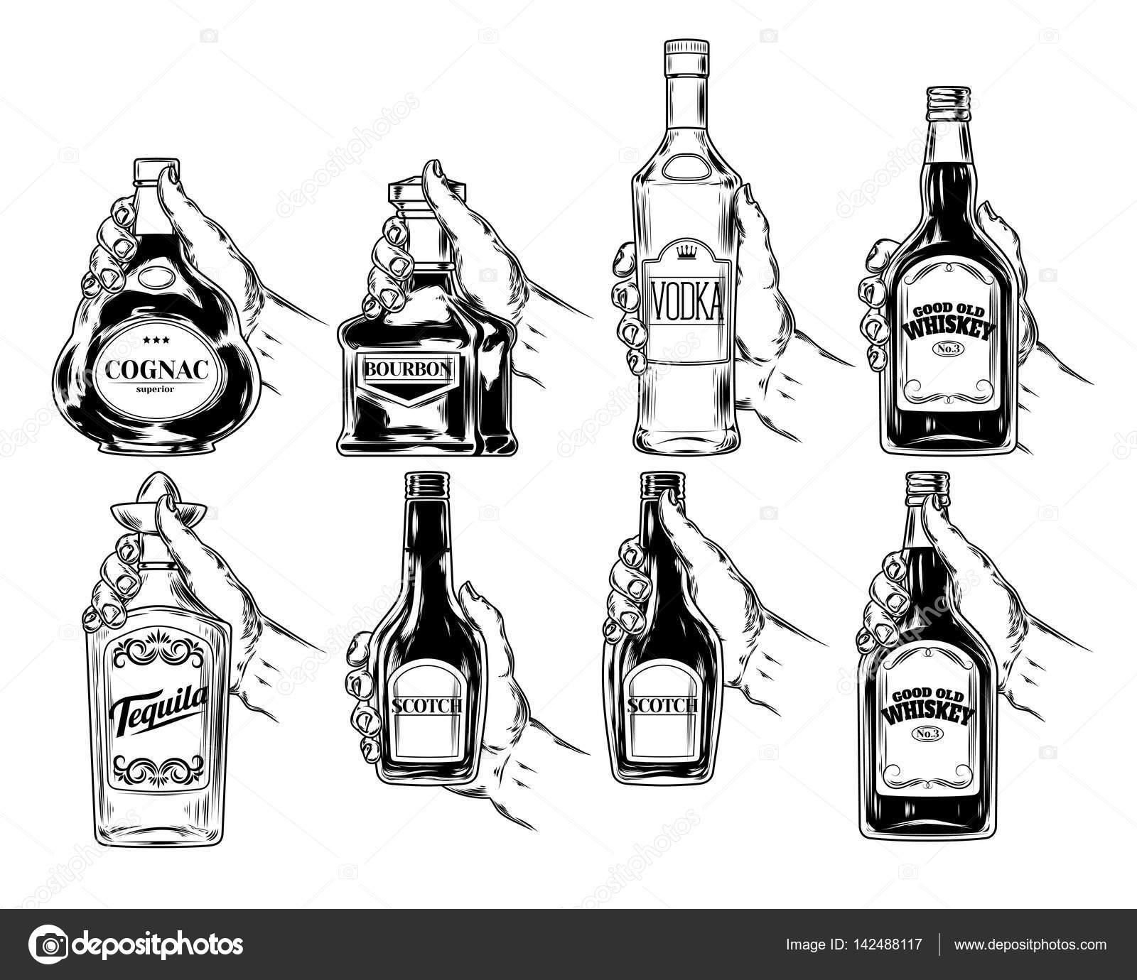 1600x1380 Set Of Bottles For Alcohol Stock Photo Vectorpocket