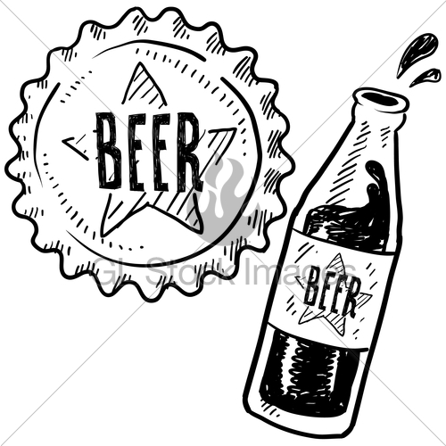 500x500 Beer Bottle And Cap Sketch Gl Stock Images