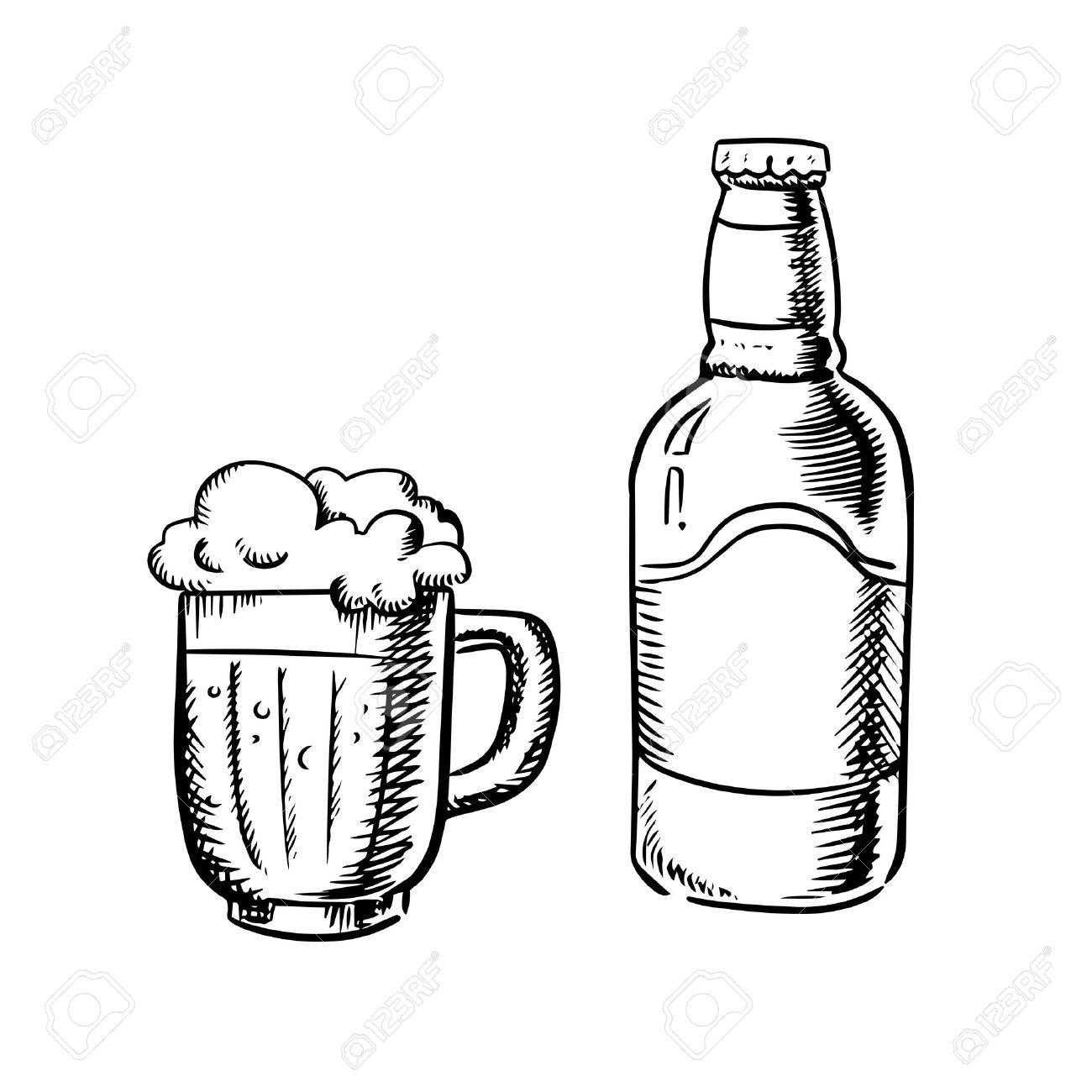 1300x1300 Beer Bottle And Filled Tankard With Overflowing Froth Head