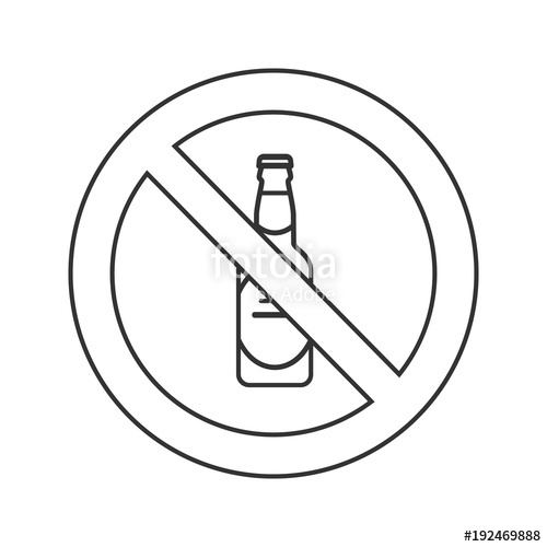 500x500 Forbidden Sign With Beer Bottle Linear Icon Stock Image