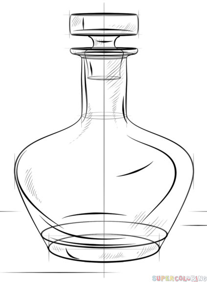 423x575 How To Draw A Bottle Step By Step Drawing Tutorials