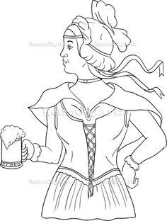236x312 Line Drawing Illustration A Beer Bottle, Beer Mug, Bowl