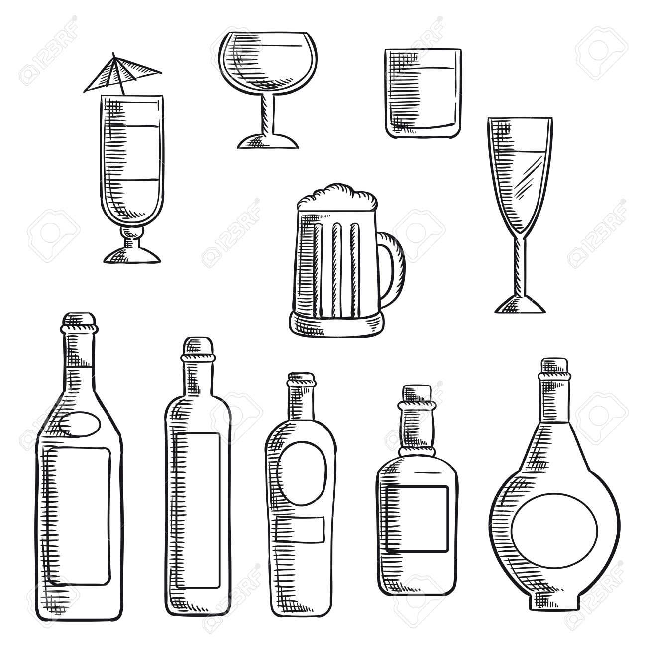 1300x1300 Wine, Beer, Whiskey, Vodka And Liquor Bottles With Filled Glasses