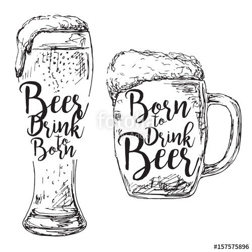 500x500 Different Glasses Of Beer Inscription. Born To Drink Beer. Vector