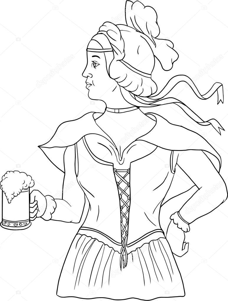 773x1023 German Barmaid Serving Beer Drawing Stock Vector Patrimonio