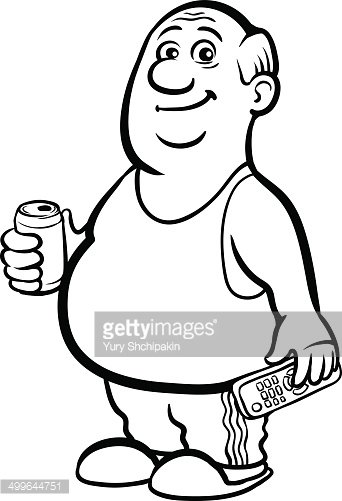 342x501 Whiteboard Drawing Cartoon Fat Retired Man With Beer Premium