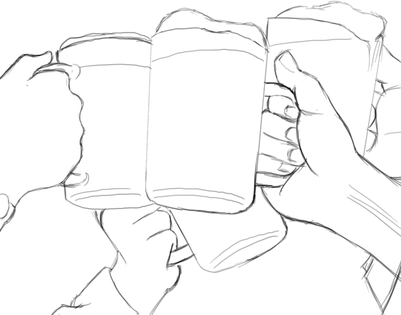 1280x1007 Beer Mugs Cheers Drawing Link 747 Wsource Paint Miscellaneous