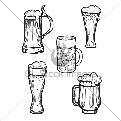 500x500 Beer Ware Set. Beer Mug And Beer Glass Silhouette Collect Gl