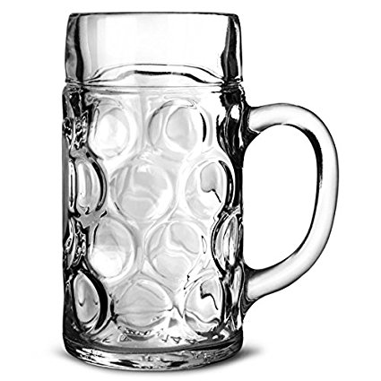 425x425 German Beer Stein Glass 2 Pint Classic Beer Tankards, Beer Mugs