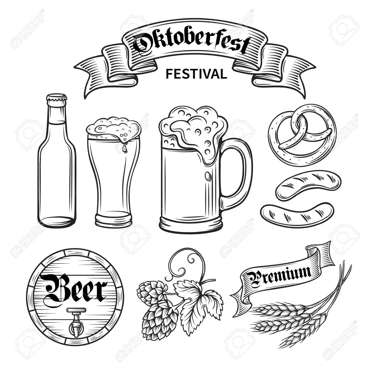 1299x1300 Set Hand Draw Decorarive Beer Oktoberfest, Black Line Royalty Free