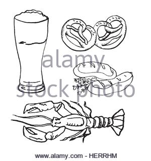 300x320 Beer Glass With Sausage Sketch Oktoberfest Festival Banner Stock