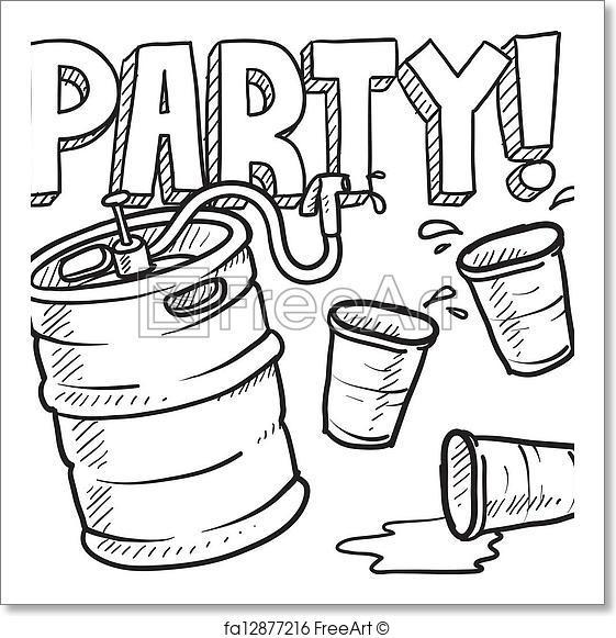 561x581 Free Art Print Of Keg Party Sketch. Doodle Style Beer Keg, Frat