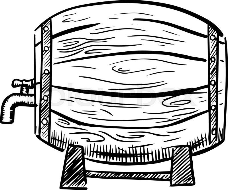 800x666 Grunge Hand Drawn Wooden Barrels On Vintage Paper Background