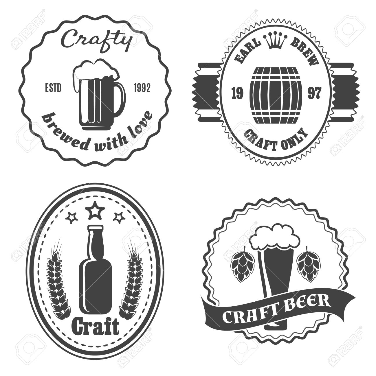 1299x1300 42369534 Craft Beer Brewery Badges And Logo Vintage Bar Icon