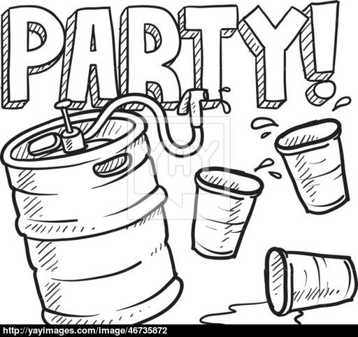 512x482 Keg Party Sketch Vector