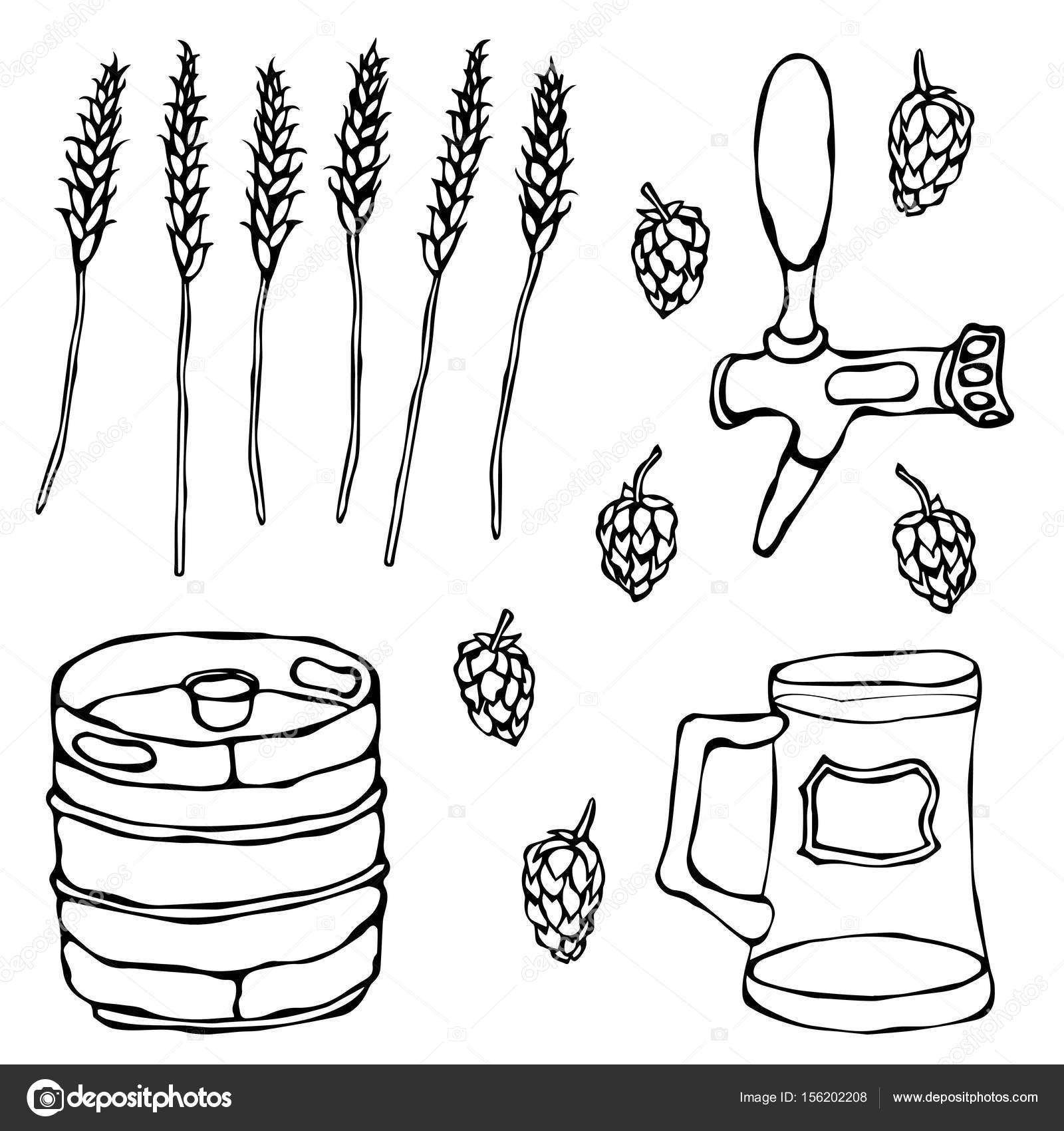 1600x1700 Set Of Beer Objects Hop, Malt, Mug, Tap, Keg. Isolated On A White