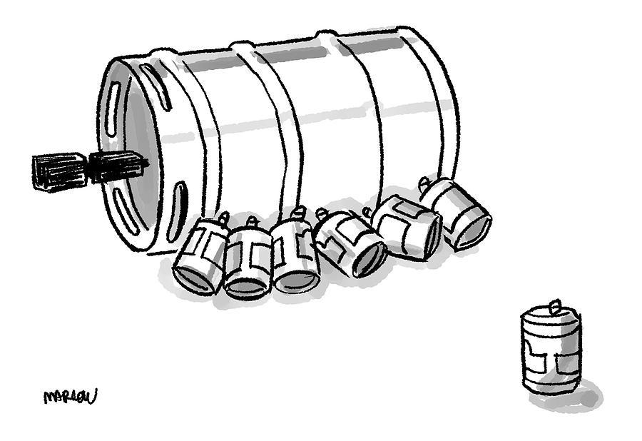 900x618 Beer Cans Nursing At A Keg Drawing By Sam Marlow
