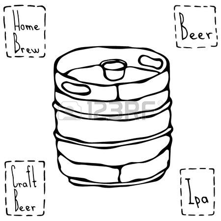 450x450 Beer Metal Barrel. Beer Keg Doodle Style Sketch. Hand Drawn Vector