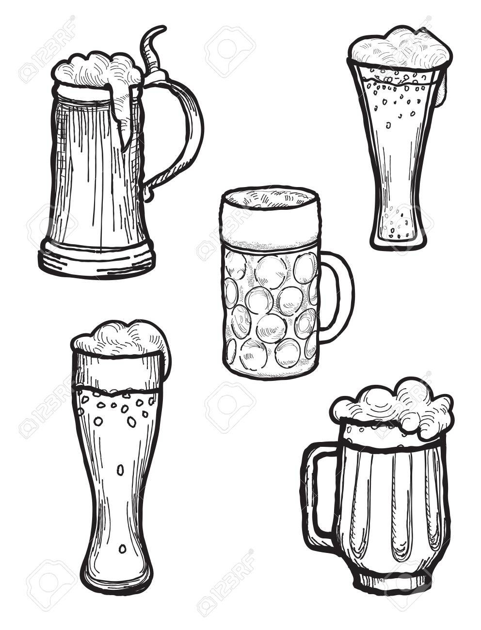 992x1300 Beer Ware Set In Retro Style. Beer Mug And Beer Glass Silhouette