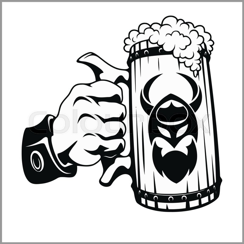800x800 Beer Mug In Hand Isolated On White Stock Vector Colourbox