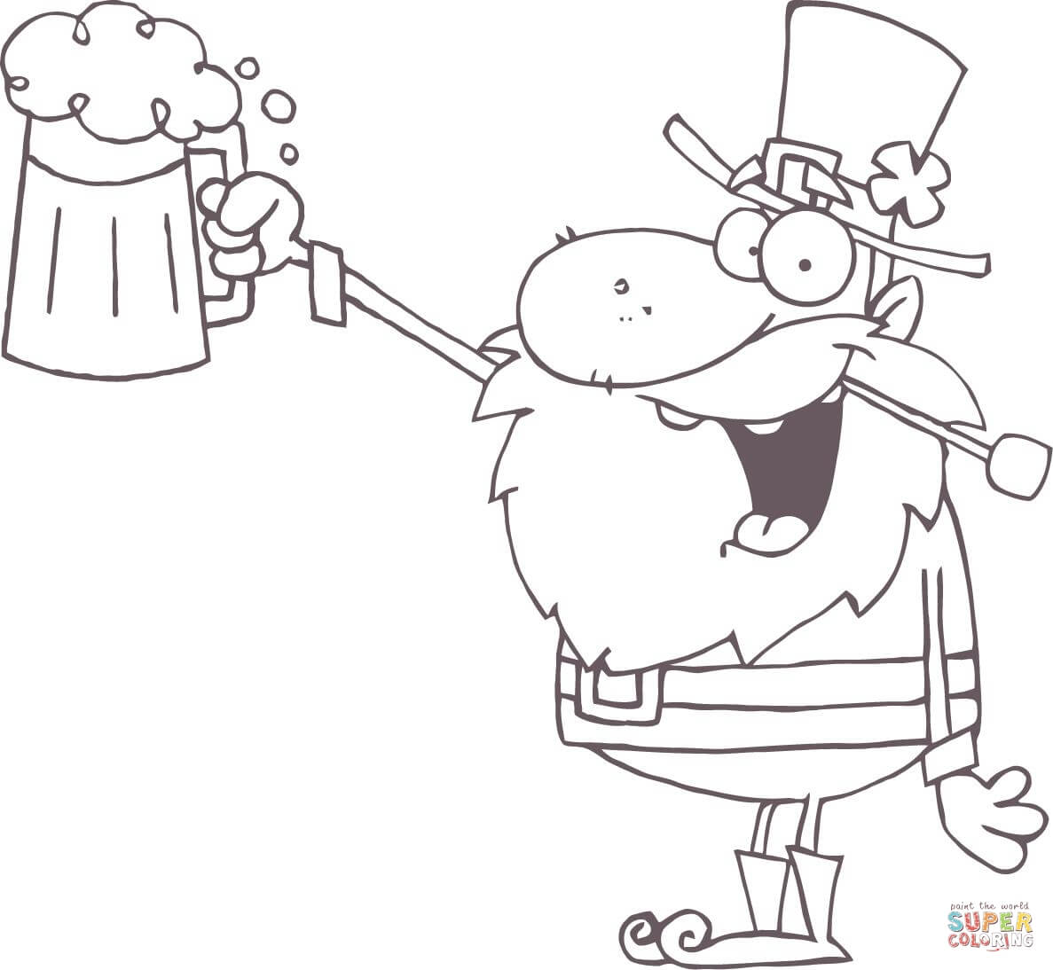 1187x1094 Lucky Leprechaun Toasting With A Mug Of Beer Coloring Page Free