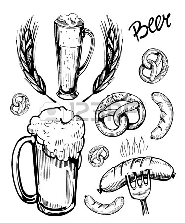 375x450 Sketch A Mug Of Beer With Snacks Sausages, Pretzels. Hand Drawn