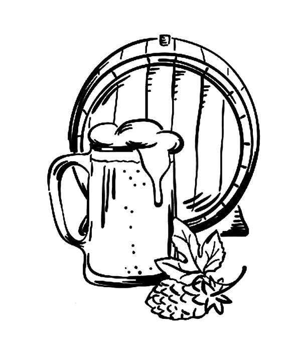 600x709 Barrel Beer And Mug Coloring Pages Best Place To Color