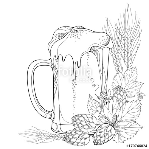 500x500 Vector Beer Mug With Ornate Hops Or Humulus And Barley Ears
