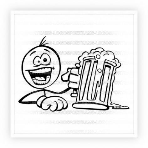 473x473 Logo Part Of Black White Stick Man Holding Beer Stein Cheers Graphic