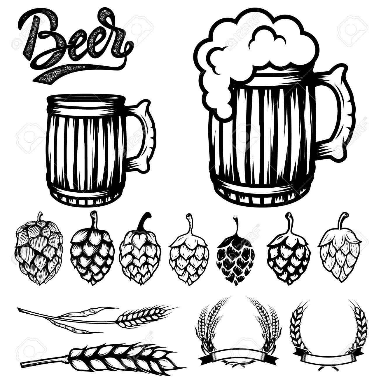 1299x1300 Set Of Components For Beer Labels Design. Beer Mugs, Hops, Wheat