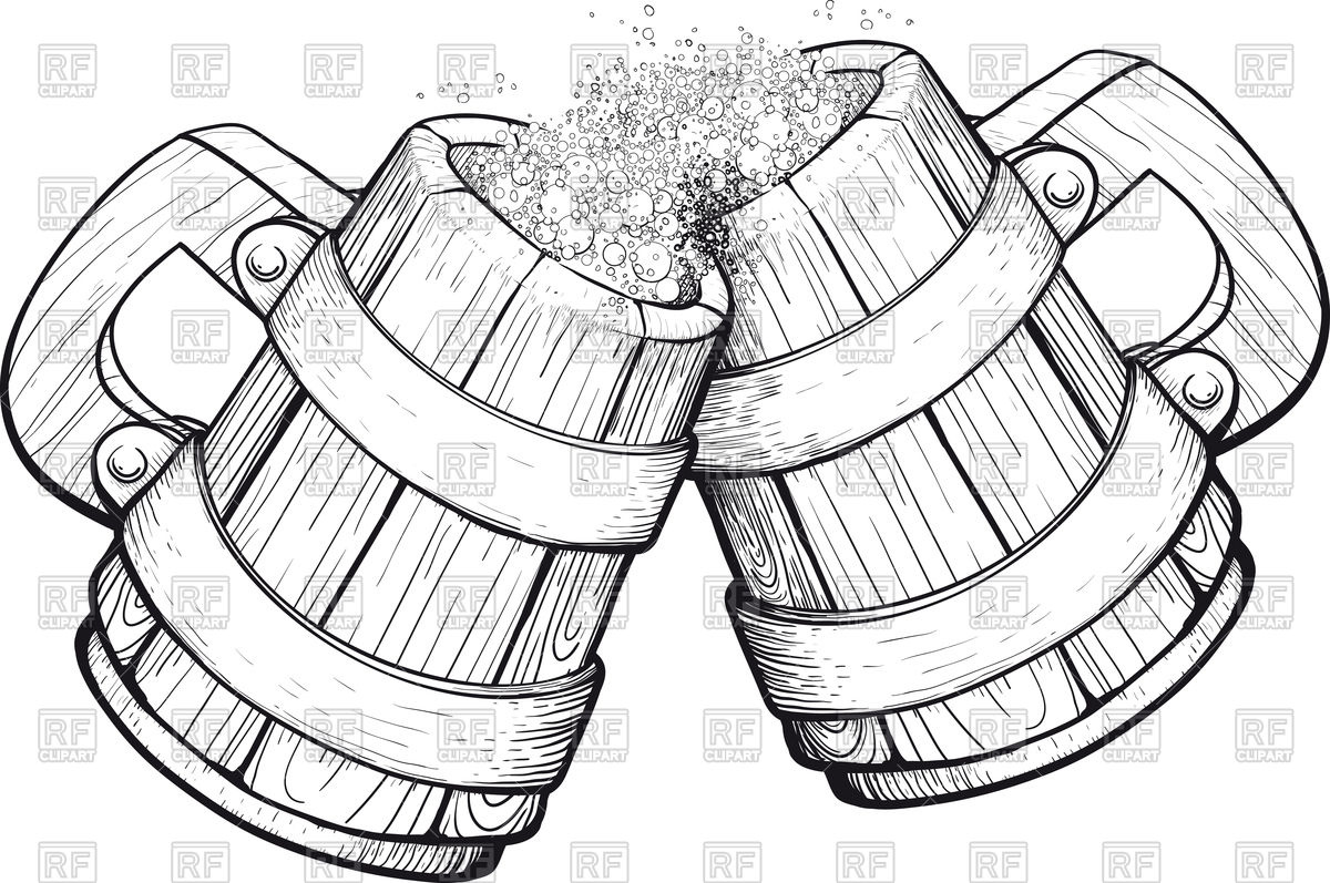 1200x797 Two Old Wooden Beer Mugs Royalty Free Vector Clip Art Image