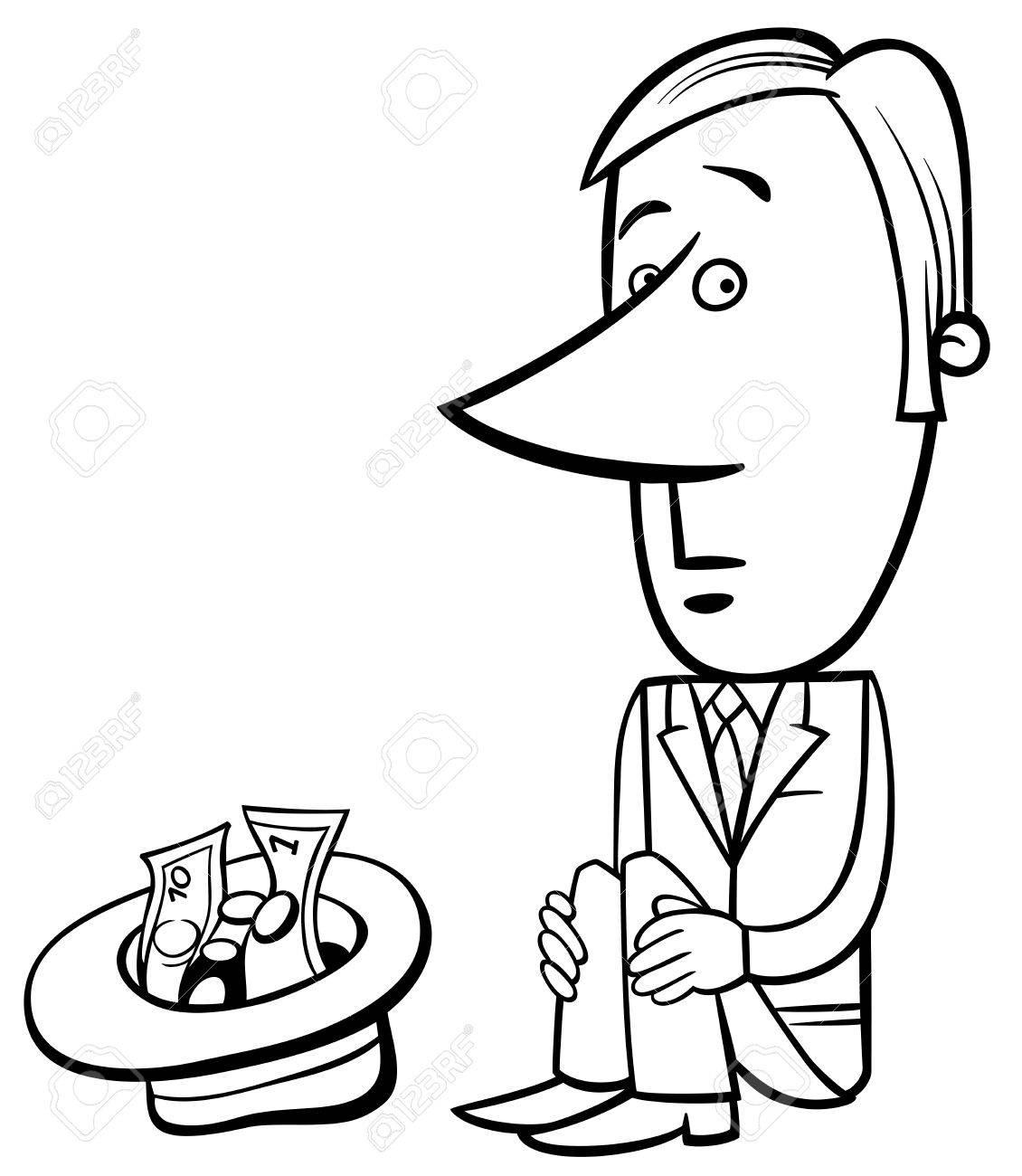 1130x1300 Black And White Concept Cartoon Illustration Of Businessman Beggar