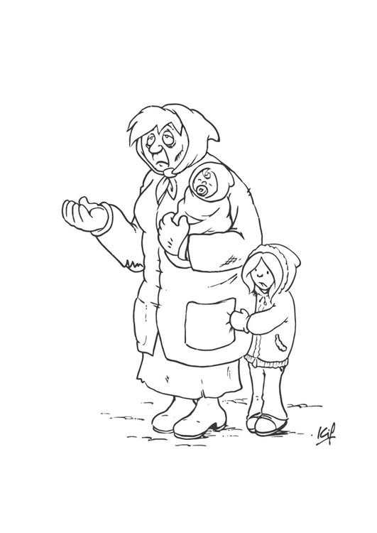 531x750 Coloring Page Beggar With Child