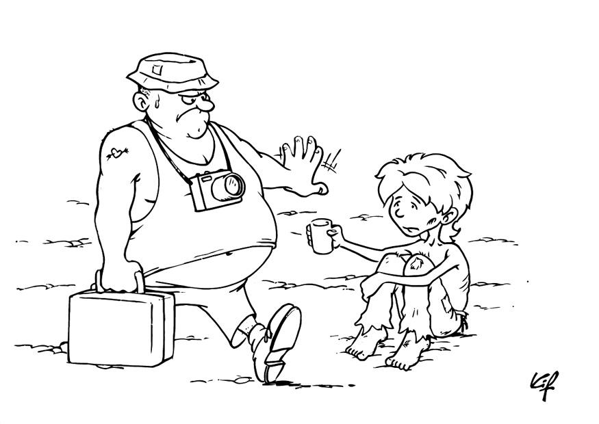 875x620 Coloring Page Child Beggar