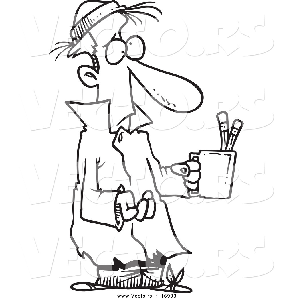 1024x1044 Vector Of A Cartoon Poor Man Begging With A Pencil Cup