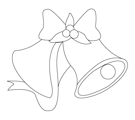 450x400 Christmas Bell Drawing To Color