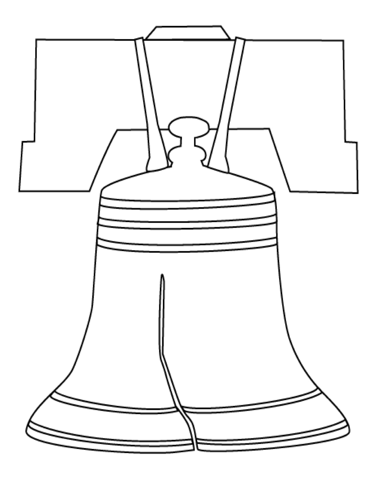 1275x1651 Drawing Of A Bell Fourth Of July Liberty Bell Craft Template