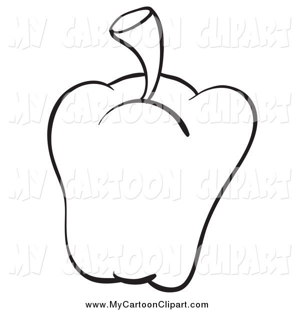 600x620 Clip Art Of A Black And White Bell Pepper By Graphics Rf