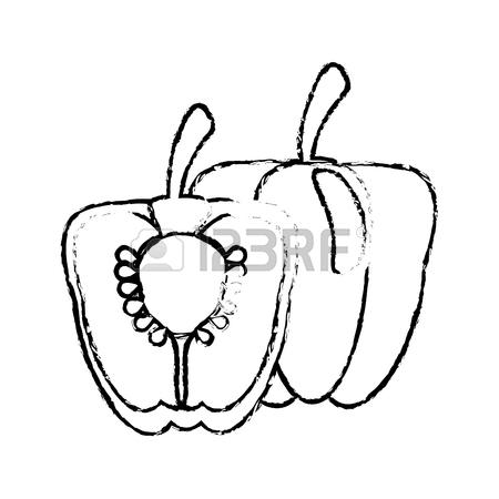 450x450 Half Pepper Food Diet Healthy Sketch Royalty Free Cliparts