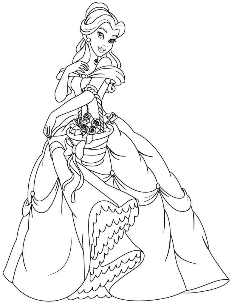 778x1024 Princess Belle Coloring Pages To Print In Tiny Draw Page Free