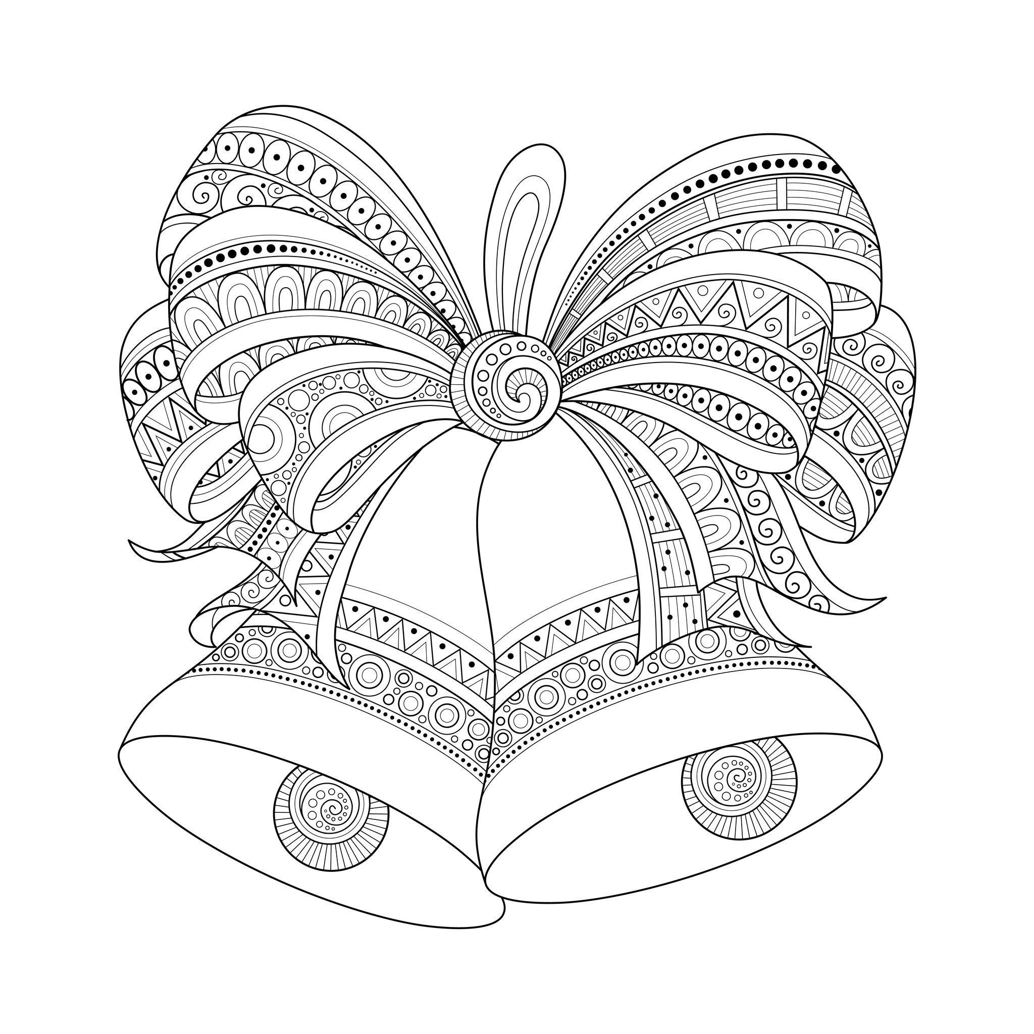 2048x2048 Christmas Golden Bells With Bow, Drawn With Zentangle Style,
