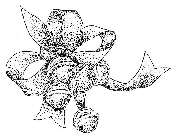 600x473 Christmas Bells Drawing By Christy Beckwith