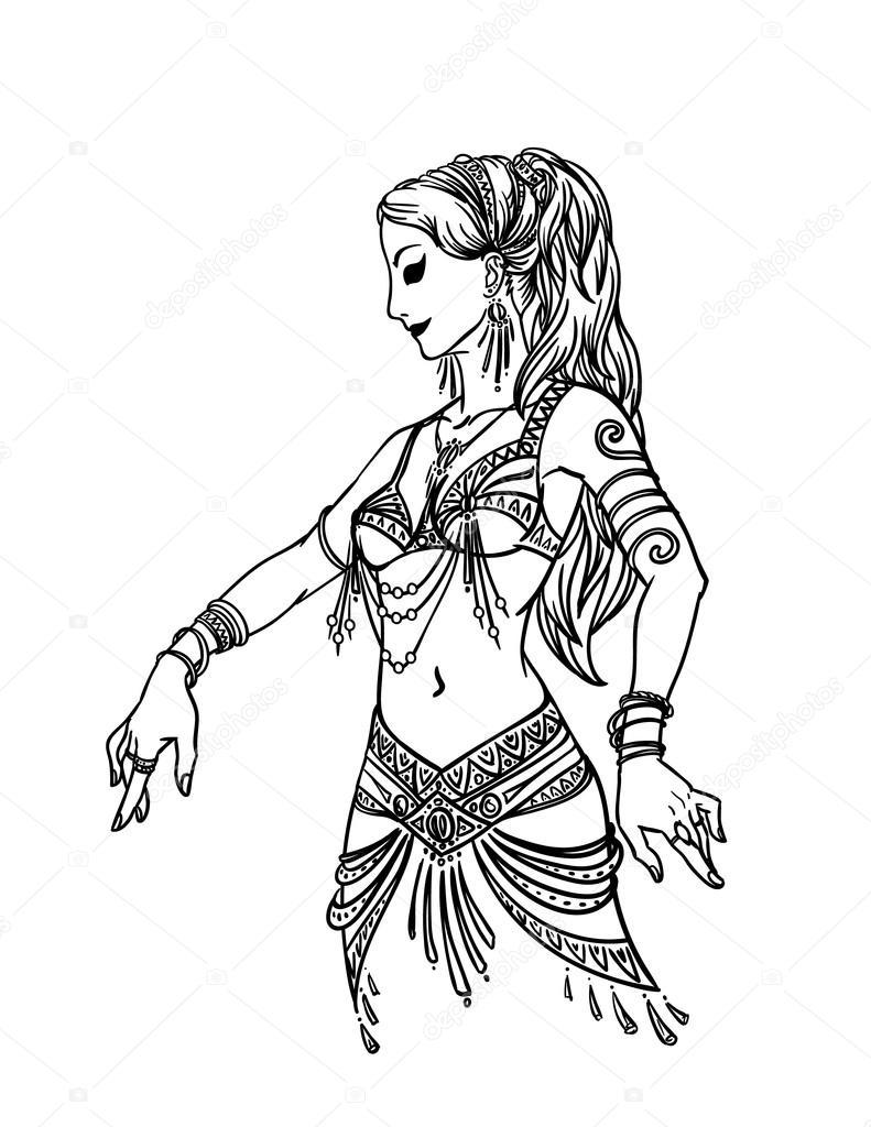 791x1024 Belly Dancer Girl In Hand Drawn Style. Stock Vector Tinki.v