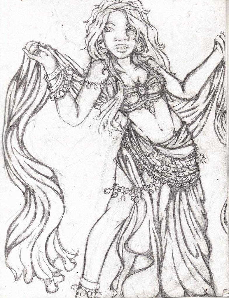 785x1018 Gyspy Belly Dancer Sketch By Remedy13