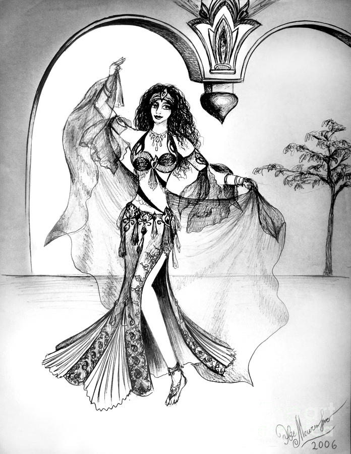 696x900 Miriam, Belly Dancer With Veil Drawing By Sofia Metal Queen