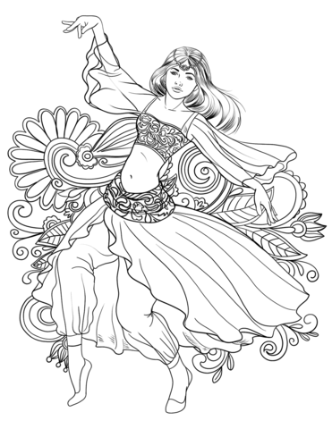371x480 Arabic Woman Dancing Belly Dance Coloring Page Free Printable