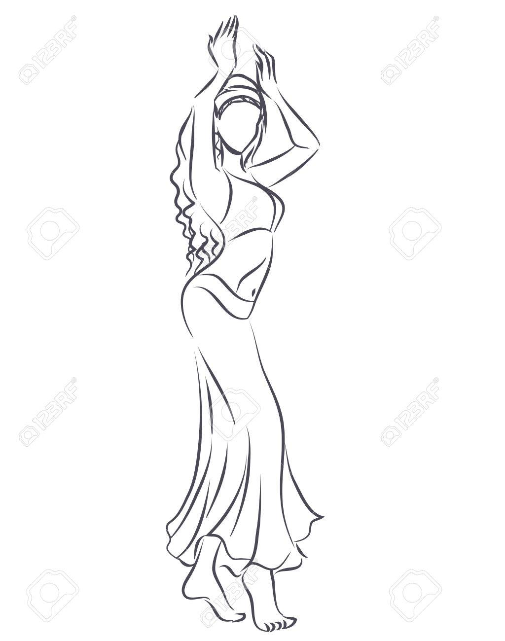 1024x1300 Art Line Of Belly Dancer. Young Slender Girl In East Suit Shows