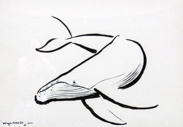 620x433 Wyland Original Chinese Brush Stroke Beluga Whales 2006 42x35 By